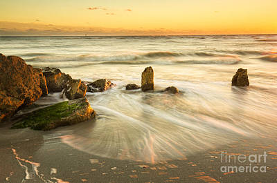 Movement Of The Sea At Sunset, Long Exposure Art Print by Felix Lai