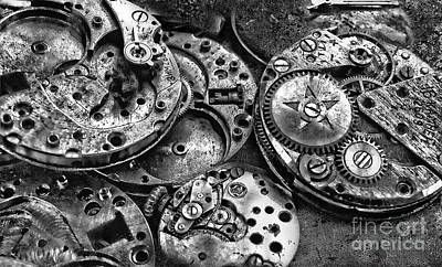 Photograph - Movement, Watch Mechanism In Black And White by Daliana Pacuraru
