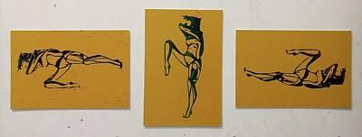 Linoprint Drawing - Movements by Anna Potanina
