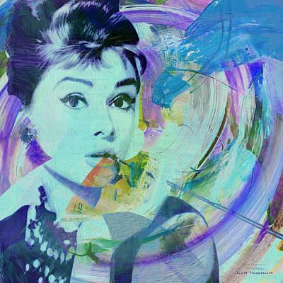 Actrice Digital Art - Movie Icons - Audrey Hepburn I by Joost Hogervorst