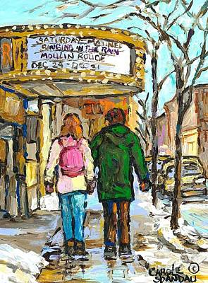 Painting - Movie Marquee Painting Canadian Art Young Couple Winter Walk Park Ave Montreal Scene Carole Spandau  by Carole Spandau