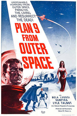 Outer Space Painting - Movie Poster For Plan 9 From Outer Space  by Celestial Images