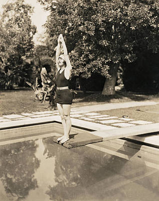 Diving Board Photograph - Movie Star About To Dive by Underwood Archives