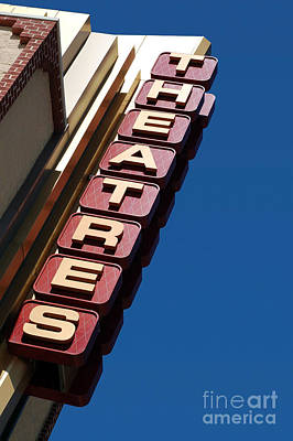 Movie Theatres Sign Picture Art Print by Paul Velgos