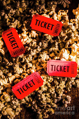 Tasty Photograph - Movie Tickets On Scattered Popcorn by Jorgo Photography - Wall Art Gallery