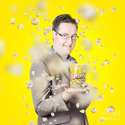 Movies Man Watching Fall Of Cinema Popcorn Art Print