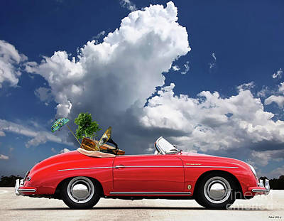 St. Louis Mixed Media - Moving Day, 1958 Red Porsche 356a, 1600 Speedster by Thomas Pollart
