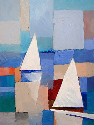 Abstract Seascape Painting - Abstract Sailboats by Lutz Baar