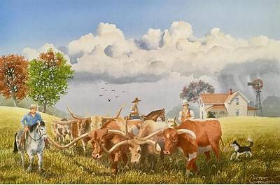 Painting - Moving The Herd by C Robert Follett