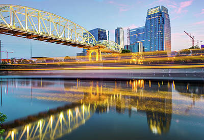 Photograph - Moving Through Music City - Nashville Skyline Cityscape by Gregory Ballos