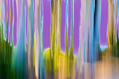 Digital Art - Moving Trees 1 Deep Lavender by Gene Norris