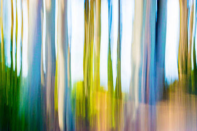 Digital Art - Moving Trees 3 Pantone Classic Blue 30-45 by Gene Norris