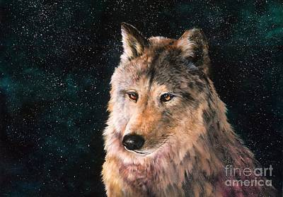 Fauna Painting - Moving Wolf by Jean Harrison