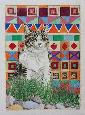 Red And White Quilt Painting - Mozart In The Grass by Vera Smith
