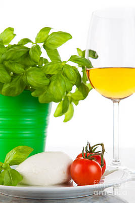 Mozzarella With Tomatoes Basil And Wine Art Print by Wolfgang Steiner