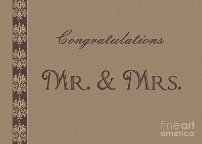 Digital Art - Mr. And Mrs. Brown Wedding by JH Designs