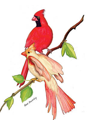 Art Print featuring the painting Mr. And Mrs. Cardinal by Anne Beverley-Stamps