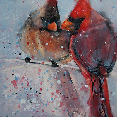 Painting - Mr. And Mrs. Cardinal by Jani Freimann