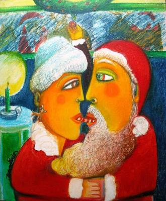 Mr. And Mrs. Claus Sharing A Candycane Original