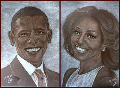 Michelle Obama Drawing - Mr And Mrs Obama by Tetiana Rudnevska