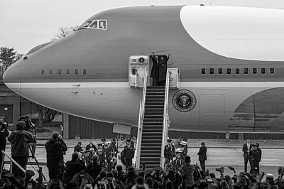 Michelle Obama Photograph - Mr And Mrs Obama Waving On Air Force One Waving Goodbye After Leaving Office by Valentina Lopez