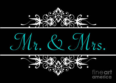 Digital Art - Mr. And Mrs. Ornamental Wedding by JH Designs