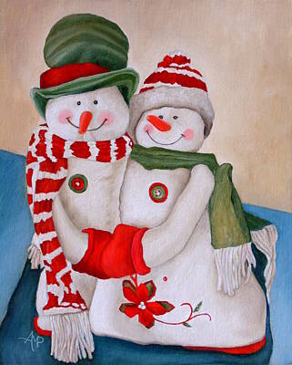 Snowwoman Painting - Mr. And Mrs. Snowman by Angeles M Pomata