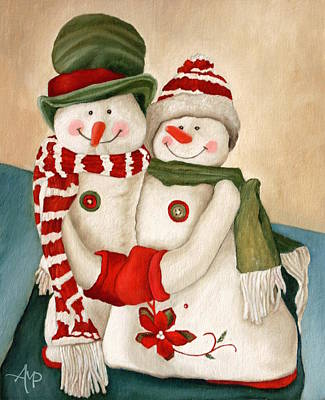 Christmas Greeting Painting - Mr. And Mrs. Snowman Vintage by Angeles M Pomata