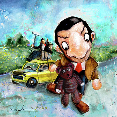 Painting - Mr Bean And Teddy by Miki De Goodaboom