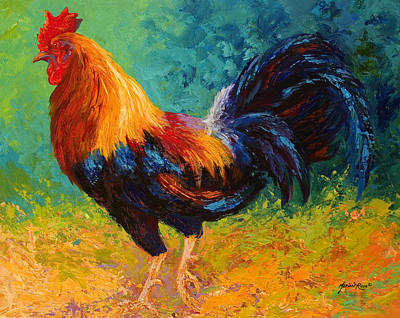 Chicken Painting - Mr Big - Rooster by Marion Rose