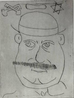 Drawing - Mr Bloom - Black by Roger Cummiskey