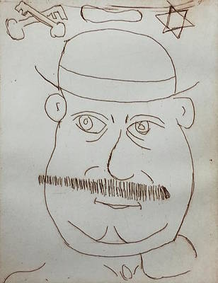 Drawing - Mr Bloom - Red by Roger Cummiskey