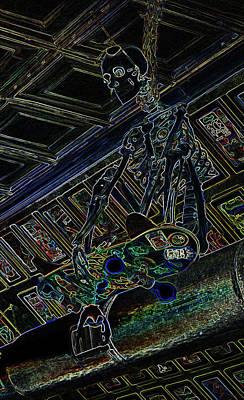 Skateboard Digital Art - Mr Bones Aglow by Marian Bell
