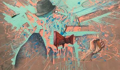 Pap Painting - Mr Brainwash's Cigarette Daydream by Alex Kirouac