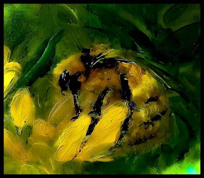 Digital Art - Mr Bumble On Painterly Yellow by Lisa Kaiser