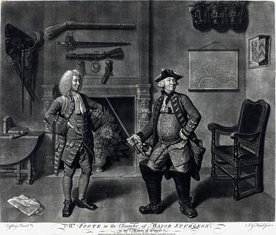Drawing - Mr. Foote In The Character Of Major Sturgeon by Johann Gottfried Haid