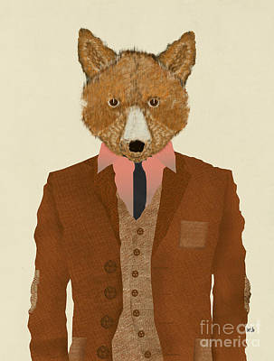 Print featuring the painting Mr Fox by Bri B