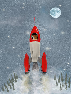Painting - Mr Fox Goes To The Moon by Bri B