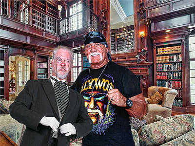 Library Digital Art - Mr. Goldsworth Posing With Pro Wrestling Icon Hulk Hogan  by Jim Fitzpatrick