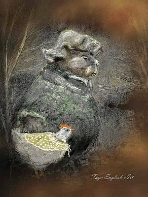Mr. Groundhog And Miss Chick Art Print by Faye English