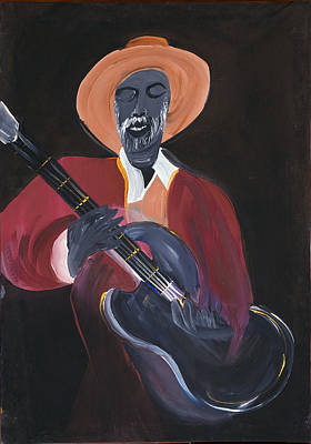 Black Man Playing Guitar Painting - Mr. Guitar Man Play For Me by Robert Lee Hicks