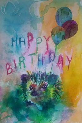 Childrens Art Painting - Mr Hedgehog Says Happy Birthday by Emma Kaufmann