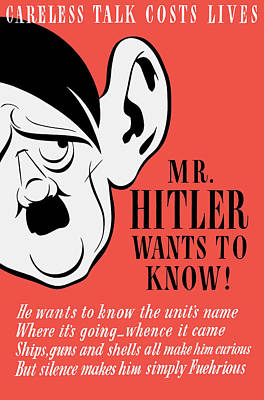 Us Propaganda Painting - Mr Hitler Wants To Know - Ww2 Propaganda  by War Is Hell Store