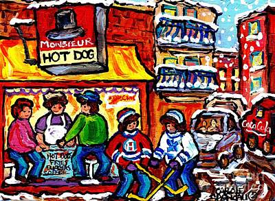 Street Hockey Painting - Mr Hot Dog Montreal Snowy Winter City Scenes Hockey Art Canadian Artist Carole Spandau               by Carole Spandau