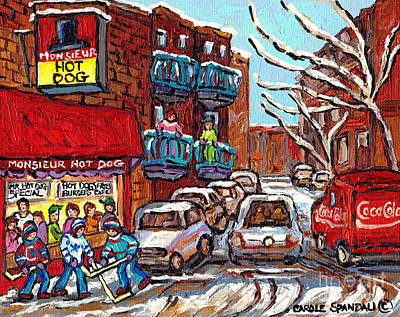 Mr. Hockey Painting - Mr Hot Dog Restaurant Montreal Memories Hockey Game Winter Street Scene Canadian Art Carole Spandau  by Carole Spandau