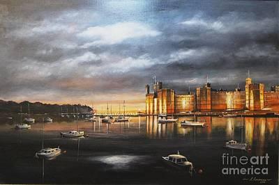 Caernarfon Castle, At Night Art Print by Kevin Andrews BA