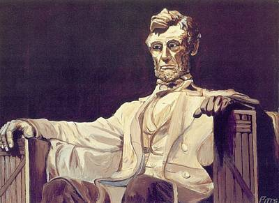Lincoln Memorial Painting - Mr. Lincoln Looks Down by Joseph R Pitts
