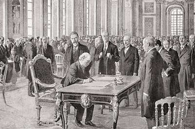 Liberal Drawing - Mr. Lloyd George Signs The Peace Treaty by Vintage Design Pics