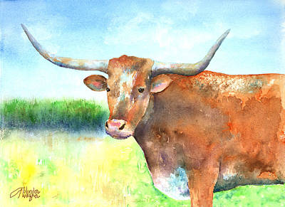 Mr. Longhorn Art Print by Arline Wagner