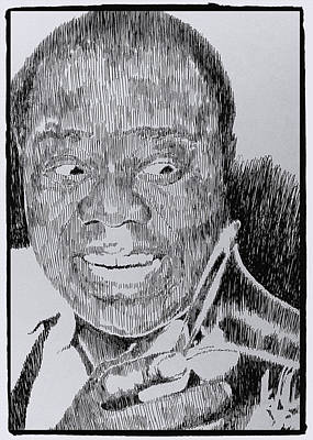 Robbi Musser Drawing - Mr. Louis Armstrong by Robbi  Musser